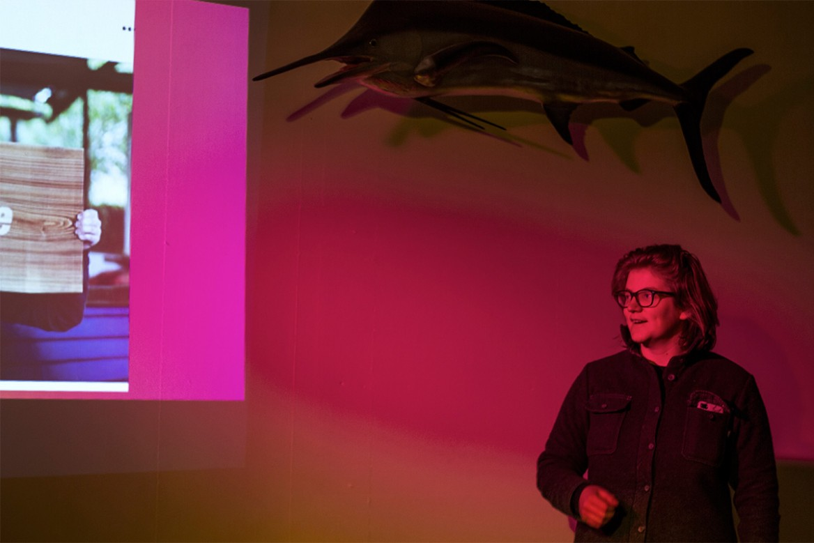 jen shipley of cut by beam speaking at the november 2017 as one talks event hosted by hailer