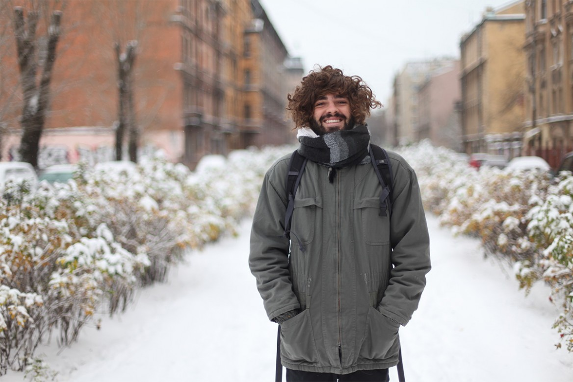 writer kim feldmann de britto in the snow in st petersburg photographed by Vera Zaraeva