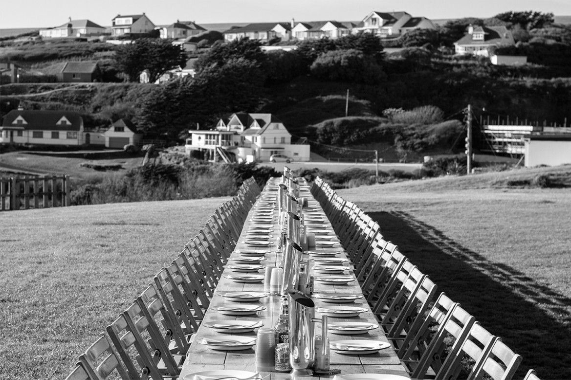 long table by woodfired canteen at goodfest cornwall 2019