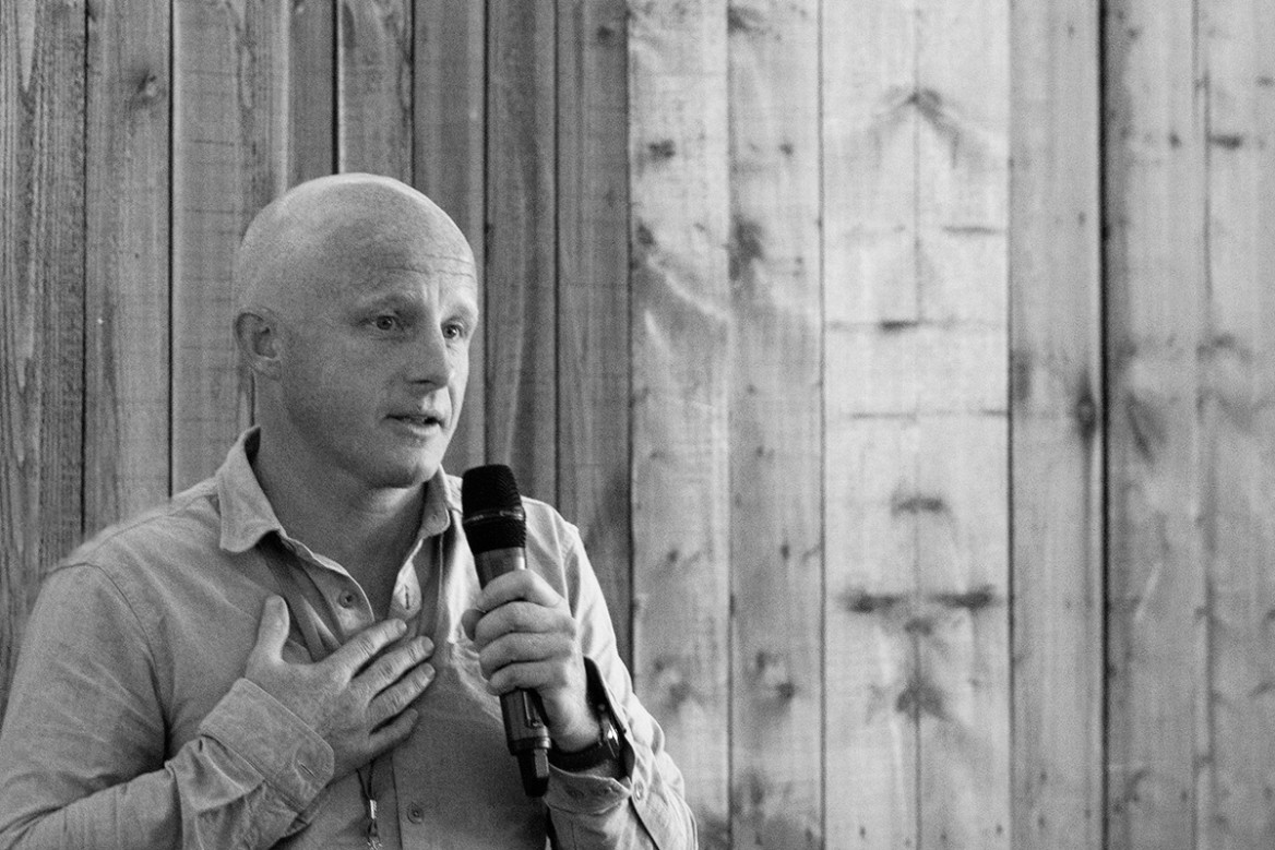 finisterre founder tom kay talking at goodfest 2019 in cornwall
