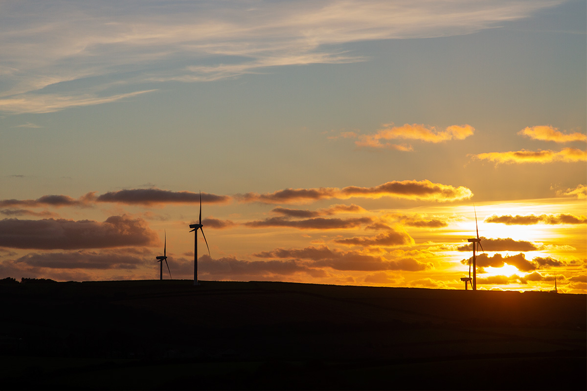 windfarm in cornwall at sunset